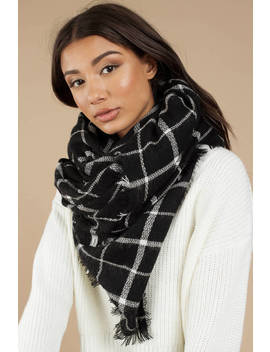 Champs Elysees Black Oversized Grid Scarf by Tobi