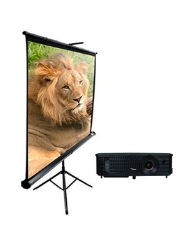 Optoma H183 X Projector And Elite Screens T84 Uwv1 84 Inch Screen Bundle   Certified Refurbished by Optoma