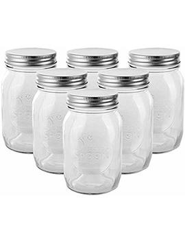 Golden Spoon Mason Jars, With Regular Lids, And Lids For Drinking, Regular Mouth, Dishwasher Safe, Bpa Free, (Set Of 6) (16 Oz/Pint) by Golden Spoon