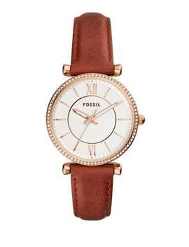 Jacqueline Three Hand Terracotta Leather Watch by Fossil