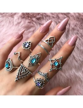 10 Pcs/Set Bohemian Retro Fashion Gem Hollow Crown Crystal Opal Finger Knuckle Ladies Ring New Punk Accessories Jewelry by Hc