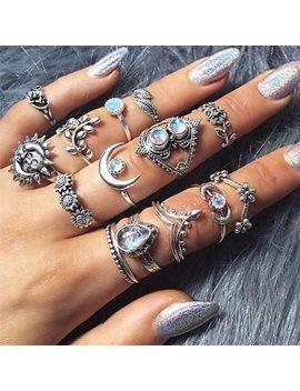 14 Pcs/Set Women Vintage Crystal Moon Flower Leaves Water Drop Tarot Symbol Irregular Joint Ring Punk Charm Silver Ring Set  by Hc