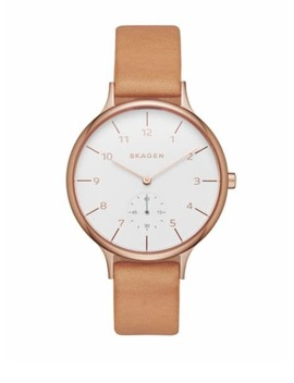 Signature Stainless Steel Leather Strap Watch by Skagen