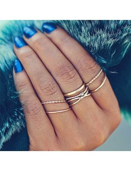 17 Km Fashion Gold Color X Knuckle Rings Set For Women Vintage Midi Finger Ring Female Party Jewelry Gifts Drop Shipping 5 Pcs/Set by 17 Km