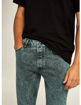 Green Acid Wash Stretch Skinny Jeans by Topman
