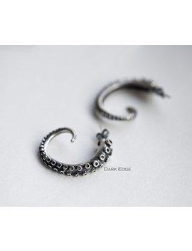 925 Sterling Silver Octopus Tentacle Earrings Hoop Earrings Mens Womens Gothic Punk Jewellery Gift By Dark Edge Jewellery by Etsy