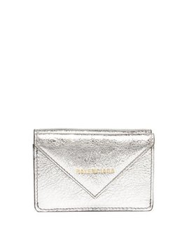 Papier Metallic Leather Purse by Balenciaga