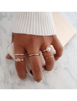 5 Pcs/Set Women's Sweet Romantic Pearl Love Heart Crystal Adjustable Geometric Gold Ring Set Ladie Party Jewelry Accessories by Hc