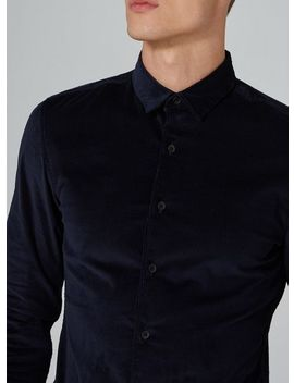 Navy Corduroy Stretch Skinny Shirt by Topman