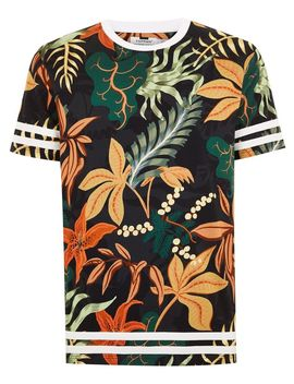 Black Floral Taping T Shirt by Topman