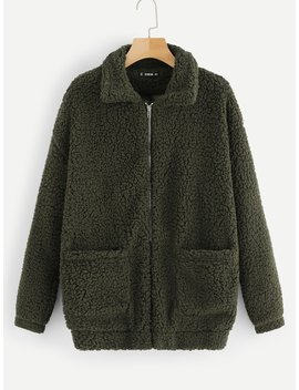 Pocket Front Zip Up Teddy Jacket by Shein