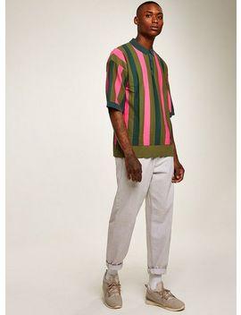 Khaki Mesh Polo Sweater by Topman
