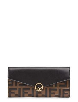 Logo Calfskin Leather Continental Wallet by Fendi