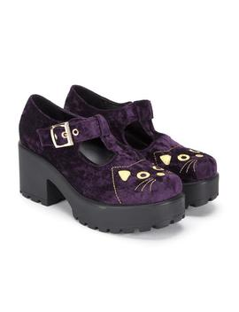 Fuji Cat Face Velvet Shoes by Koi Footwear