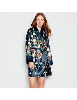 B By Ted Baker   Navy Floral Print 'kensington' Satin Dressing Gown by B By Ted Baker