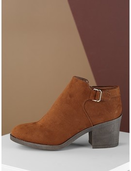 Side Buckle Detail Almond Toe Heeled Booties by Sheinside
