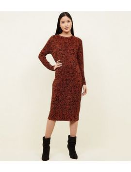 Rust Leopard Print Plissé Dress by New Look