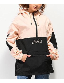 Gnarly Danorak 2 Pale Pink & Black Anorak Jacket by Gnarly