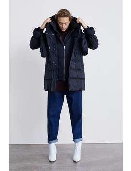 Down Puffer Coat With Wraparound Collar  Jacketswoman by Zara