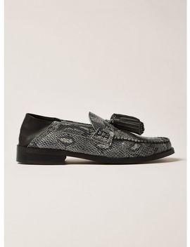 Gray Snake Leather Tassel Encore Loafers by Topman