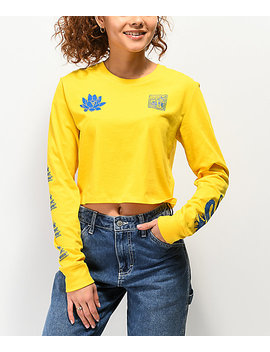 Empyre Kode Dragon Yellow Crop Long Sleeve T Shirt by Empyre