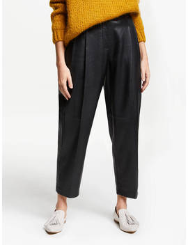 Modern Rarity Pleat Front Leather Trousers, Black by Modern Rarity