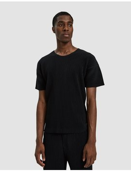 Basic Tee In Black by Issey Miyake Homme Plissé