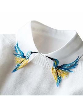 Shinywear Beads Embroidered False Shirt Collar Casual Detachable Lapel Retro British Dicky White, One Size by Shinywear