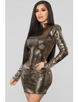 The Glow Up Metallic Dress   Gold by Fashion Nova