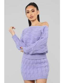 Call You Up Cable Knit Set   Lavender by Fashion Nova