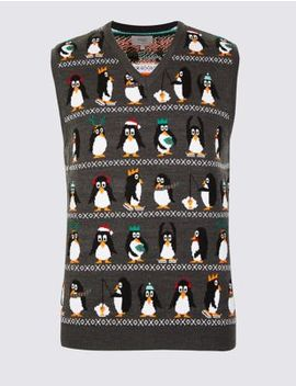 Fishing Penguin Christmas Sleeveless Jumper by Marks & Spencer