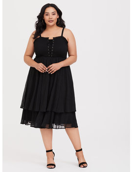 Black Chiffon Tiered Midi Dress by Torrid