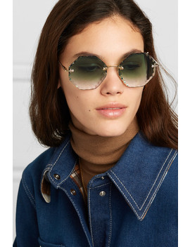 Rosie Octagon Frame Gold Tone Sunglasses by Chloé