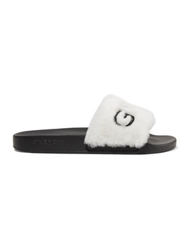 Logo Embroidered Shearling Slides by Givenchy