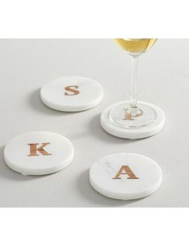 Alphabet Marble And Wood Coasters by Pottery Barn