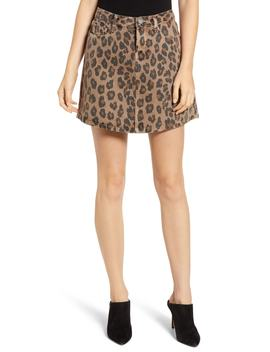 Leopard Print A Line Denim Skirt by Blanknyc