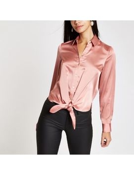 Pink Satin Tie Front Shirt by River Island