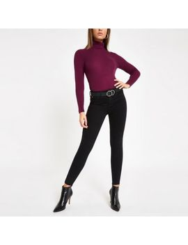 Purple Roll Neck Long Sleeve Top by River Island
