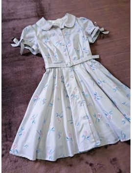 Secret Honey Dress Japan M Sliver White Light Gray Stripe Embroidery Hime Lolita by Secret Honey