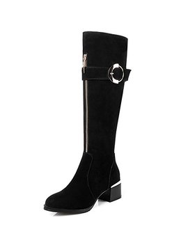 Nine Seven Suede Leather Women's Round Toe Chunky Heel Zip Handmade Classy Buckle Knee High Boots by Nine Seven