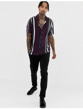 Asos Design Regular Fit Stripe Shirt In Navy by Asos Design
