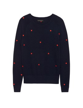 Heart Embroidery Sweater by Banana Repbulic