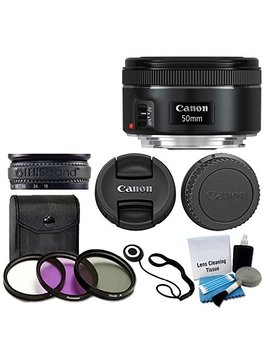 Canon Ef 50mm F/1.8 Stm Lens For Canon Cameras With 3 Piece Filter Kit (Uv Cpl Fld) + Lens Cleaning Kit by Canon