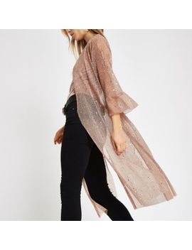 Light Pink Sequin Kimono Duster Jacket by River Island