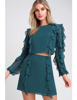 A Girl Can Dream Teal Blue Ruffled Two Piece Set by Ali & Jay