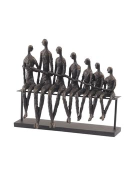 Libra Family Bench Indoor Statue Ornament Sculpture Antique Bronze Finish 39cm by Ebay Seller