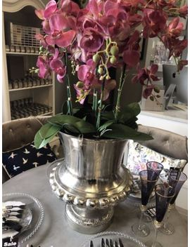 Orchid P Ink Arangement Is Silver Vase by Ebay Seller