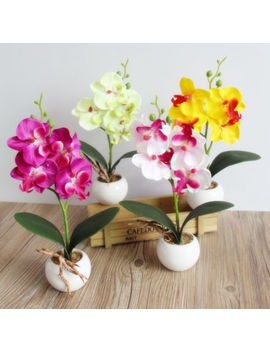 Artificial Butterfly Orchid Flowers Plants In Pot Fake Home Decor Wedding Party by Ebay Seller