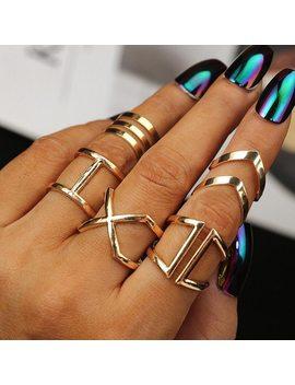 5 Pcs/ Set Classic Gold Colour V Chevron Rings Geometrical Irregular Ring Set Lady Charm Costume Jewelry Accessories Midi Rings by Rscvon M
