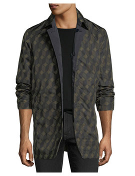 Revell Short Geometric Pattern Nylon Trench Coat by Dries Van Noten
